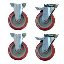 """5"""" Heavy Duty Zinc Swivel Plate Casters, 4PCS/Set"""