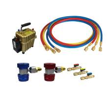 A/C Kit 134a QC 72'' SAE Charging Hose with Ball Valve 2 in 1 Air Pump