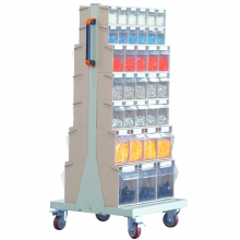Mobile Double Sided Tip Out Bin Cart with 68 Flip Out Bins