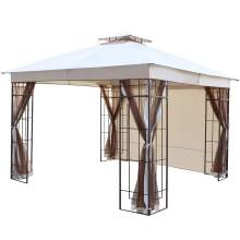 Lowell 10 x 10 Ft Gazebo Double Tiered Canopy Tent Steel Frame (Cream)