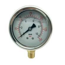 P1 2.5 Inch Pressure Gauge 1/4 Npt 0-150Psi/0-10Bar Bottom Entry SS304