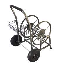 Garden Hose Reel Cart with Storage Basket Holds 300ft. x 5/8in. Hose