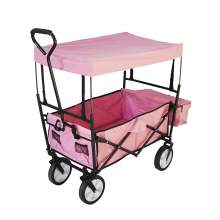 Collapsible Folding Utility Wagon with Side Bags Blue and Canopy Pink