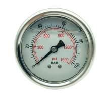 P1 2.5 Inch Pressure Gauge 1/4 Npt 0-1500Psi/0-100Bar Back Entry SS304