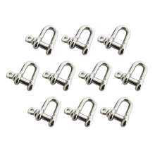 """10pcs D Shackle 304 Stainless Steel 7/16"""" Body Size 1/2"""" Pin Dia"""