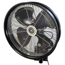 """24"""" Shrouded Outdoor Wall Mount Oscillating Fan - Cord Control/Black"""