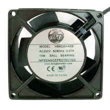 3.6'' square Axial Fan, 220vac,1ph, 0.07A, 34cfm, lead wires
