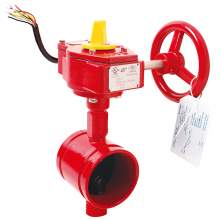 UL Certified 3'' 300psi Butterfly Valve c/w Signal Gearbox-Grooved End, Grooved-Style Butterfly Valve, Ductile Iron, Grooved Butterfly Valve