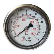 """2-1/2"""" Filled Glycerin Pressure Gauge 230 PSI Back Entry 1/4"""" NPT"""