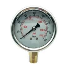 P1 2.5 Inch Pressure Gauge 1/4 Npt 0-2300Psi/0-160Bar Bottom Entry SS304