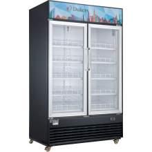 48.7 cu. ft. Commercial Glass Swing 2-Door Merchandiser Refrigerator in Black