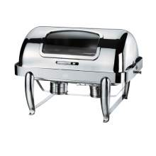 9.0 QT Stainless Steel Rectangular Chafer W/Hinged Glass Dome Cover