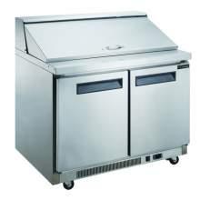 11.4 cu. ft. 2-Door Commercial Food Prep Table Refrigerator in Stainless Steel