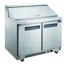14.3 cu. ft. 2-Door Commercial Food Prep Table Refrigerator in Stainless Steel with Mega Top