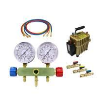 A/C Service Kit R134a Manifold Gauge Set 1/4'' Ball Valve Air Pump