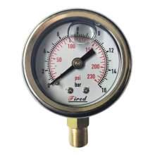 """2"""" Filled Glycerin Pressure Gauge 230 PSI Bottom Entry 1/4"""" NPT"""