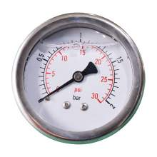 "2-1/2In 0 to 30PSI Liquid Filled Pressure Gauge 1/4""NPT Back Mount"