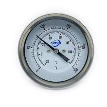"3 Inch Bimetal Thermometer 1/2""NPT Back 0-250F 2.5 Inch Stem Length"