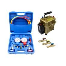 3 Way A/C Manifold Gauge Set Fits R134a R22 R410 Ball Valve Air Pump