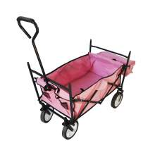 Collapsible Folding Utility Wagon with Side Bags Pink