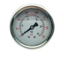 P1 2.5 Inch Pressure Gauge 1/4 Npt 0-350Psi/0-25Bar Back Entry SS304