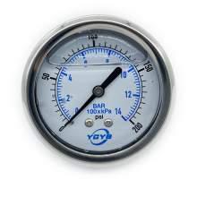 "2.5 Inch All SS Pressure Gauge Back 1/4""NPT 0-200PSI/BAR"
