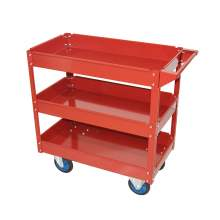 "31"" x 16"" 3 Shelf Heavy Duty Steel Service Cart 330lb Capacity Red"