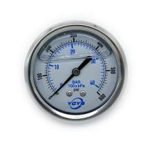 "2.5 Inch All SS Pressure Gauge Back 1/4""NPT 0-600PSI/BAR"