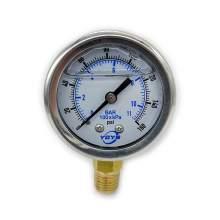"Pressure Gauge 2.0 Inch Liquid  Bottom Connection 1/4""NPT 0-160PSI/BAR"