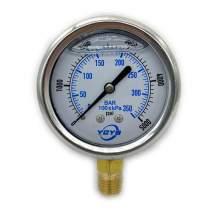 "2.5 Inch Liquid Pressure Gauge Bottom Connection 1/4""NPT 0-5000PSI/BAR"