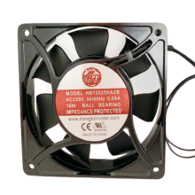 4.7'' 220vac square Axial Fan, 0.13A, 21W, 1ph, 66cfm, lead wires