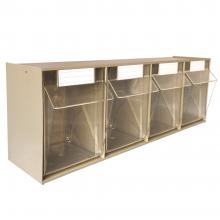 """Tip Out Storage Bins 4 Bin Unit 23-5/8""""W × 6-5/8""""D × 8-1/7""""H"""
