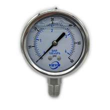 "2.5 Inch All SS Pressure Gauge Bottom 1/4""NPT 0-60PSI/BAR"