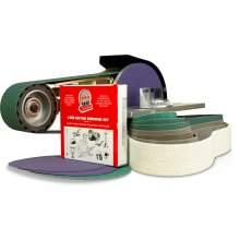 "2"" x 36"" Belt, 7"" Disc - Grinder Attachment w/ Miter Table & Metal Working Belt & Disc Starter Kit"