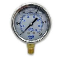 "2.5 Inch Liquid Pressure Gauge Bottom Connection 1/4""NPT 0-1000PSI/BAR"