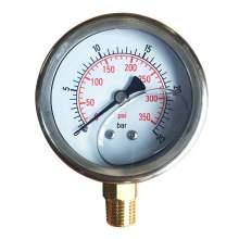 """2-1/2In 0 to 350PSI Liquid Filled Pressure Gauge 1/4""""NPT Bottom Mount"""