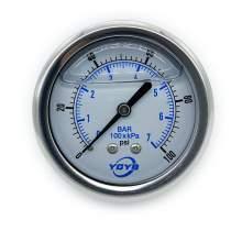 "2.5 Inch All SS Pressure Gauge Back 1/4""NPT 0-100PSI/BAR"