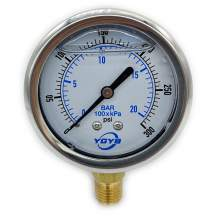 "2.5 Inch Liquid Pressure Gauge Bottom Connection 1/4""NPT 0-300PSI/BAR"