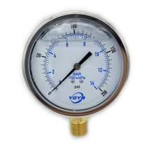 "4.0 Inch Liquid Pressure Gauge Bottom Connection 1/2""NPT 0-200PSI/BAR"