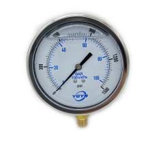 """4.0 Inch Filled Pressure Gauge Bottom Connection 1/2""""NPT 0-1500PSI/BAR"""