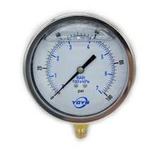 "4 Inch Liquid Pressure Gauge Bottom Connection 1/4""NPT 0-100PSI/BAR"
