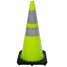 """28"""" Traffic Cone Green Color With Black Base Two Collar 7lb"""