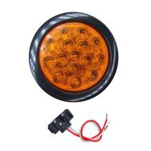 4 Inch  Round Truck Trailer Tail Turn Signal Lights with Grommet Plug