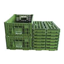 "9 pieces 41 Liter Collapsible Crate Olive 23.62"" x 15.75"" x 8.7"""
