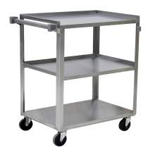 Stainless Steel Flat Handle Utility Cart 300 lbs Load Capacity 3 Shelves