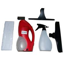 Cordless Window Cleaning Tool Kit with Vac Squeegee and Spray Bottle
