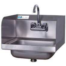 """MAXARA 17"""" x 15"""" Wall Mounted Hand Sink with Faucet and Side Splash"""