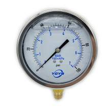 "4.0 Inch Liquid Pressure Gauge Bottom Connection 1/2""NPT 0-100PSI/BAR"