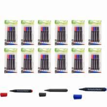 Permanent Marker Pen Bullet Tip 3 Colors (Red,Blue,Black) Set Of 48