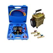 A/C Kit Manifold Gauge Set 1/4'' Ball Valve Inflation and Vacuum Pump